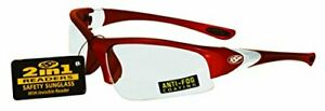 SSP Eyewear 1.50 Bifocal/Reader Safety Glasses with Red Frames and Clear Anti...