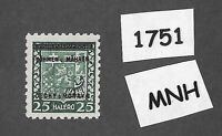 #1751  MNH 1939 Overprint stamp 25 Hal BaM Protectorate / Third Reich occupation