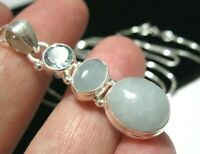 Beautiful Sterling Silver 8.62cts Natural Aquamarine Gem Stone Pendant Necklace