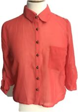Charlotte Russe Small Blouse Crop Top Sheer Cover Up Boho Orange Cut Off Back