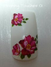 Flower Nail Art Transfer- Pink  Decal- Sticker Wrap #353 C017