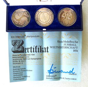 1974 World Cup Coins - 3 Piece 15g Silver Set - German - 35mm x 1.5mm - PERFECT