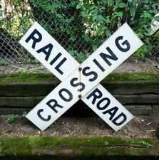 "Vintage Railroad Crossing Sign W/ Mounting Brackets 48"" x 9"" Aluminum Reflective"