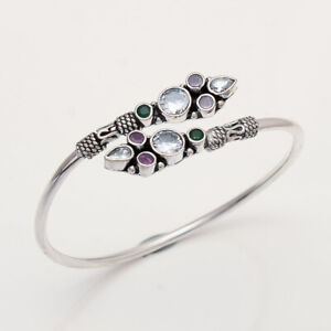 Twisted Bangle Russian White Topaz Fine Bracelet 925 Sterling Silver Womens Fine