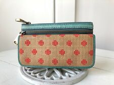 FOSSIL EXPLORER Beige and Turquoise Perforated Leather Clutch Wallet Pouch