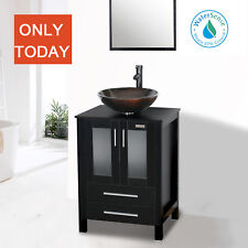 Black Bathroom Vanity 24 inch Mirror Single Top Wood Vessel Glass Sink W/ Faucet
