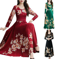 Womens Floral Long Sleeve Slim Swing Skater Casual Long Dress Party Maxi Dresses