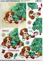 "A4 DIE CUT 3D PAPER TOLE DECOUPAGE ""PUPPY UNDER TREE"" SHEET DCD656 CHRISTMAS"