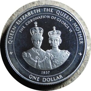 elf Bermuda 1 Dollar 1997 Proof  Silver Queen Mum Coronation 60th