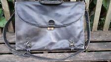 Vintage  Black Leather Briefcase  Satchel Attache Case Document Bag 40s 50s 60s?