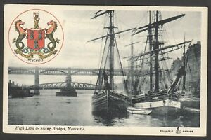Postcard Newcastle Upon Tyne sailing ships High Level and Swing Bridges crest