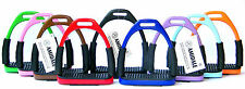 FLEXI SAFETY STIRRUPS HORSE RIDING BENDY IRONS STAINLESS STEEL 10 NEW COLORS