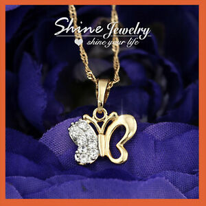 18K CHAMPAGNE GOLD GF BUTTERFLY mini DIAMOND LADIES GIRLS PENDANT CHAIN NECKLACE