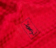Vintage YSL Yves Saint Laurent Red Silky Houndstooth Tubular Monogram Scarf