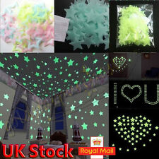 100 Glow In The Dark Star Plastic Stickers kids Ceiling Wall Bedroom Decorations