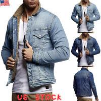 Mens Winter Fur Denim Trucker Jackets Fleece Lined Jeans Coats Warm Outwear Tops
