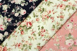 """Premium Poplin, Traditional Roses, 100% Cotton, 3 Colours, High Quality, 44"""""""