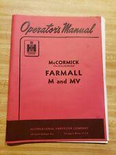 Operator's Manual Farmall M and MV Tractor International Harvester