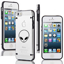 For iPhone SE 5 5s 6 6s 7 Plus Ultra Thin Clear Hard TPU Case Cover Alien Head