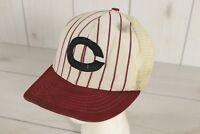 Vintage 1960's Pinstripe Baseball Hat Snapback Cap Cincinnati Mesh Union Made