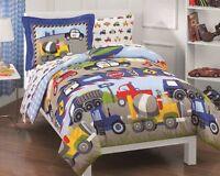 Dream Factory Trucks Tractors Cars Boys 5pc Comforter Sheet Set Blue Red Twin
