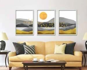 Grey, yellow ochre, Gold Abstract Print Set of 3, Landscape Modern Wall Art Set