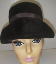 Vintage Women's Cloche Hat Felt Brown Brim United Hatters Millinery Union Canada