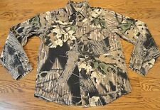 Mossy Oak Breakup Camo Shirt Camouflage Button Boys Youth Large FREE SHIPPING