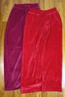 LOT OF 2 PAIRS OF WOMEN'S VELOUR ATHLEISURE PANTS - SIZE S - PINK RED