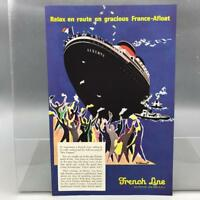 Vintage Magazine Ad Print Design Advertising French Line Cruise Ships