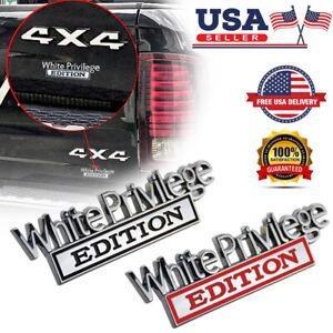 White Privilege Edition Car Truck 3D Letter Fender Emblem Badge Sticker Decal US