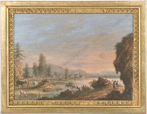"Christoph Ludwig Agricola (1667-1719) ""Sunrise"", Gouache, ca.1700"