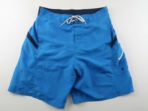 Nike Mens Mesh Lined Polyester Solid Blue Swim Trunk Shorts With Pockets Medium