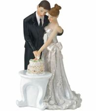 BRIDE & GROOM CUTTING CAKE TOPPER WEDDING DAY FIGURINE PARTY CAKE CRAFT ICING