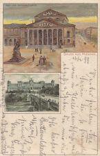 Ak München Nationaltehater Maximilianeum Künstlerkarte Münch Litho gel 1899