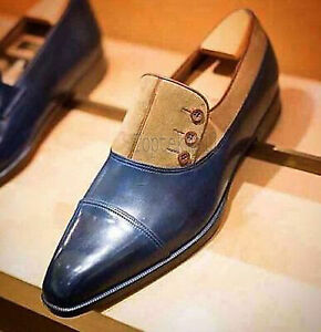 Handmade Men's Leather Two tone Oxfords Stylish Dress buttoned custom Shoes-865