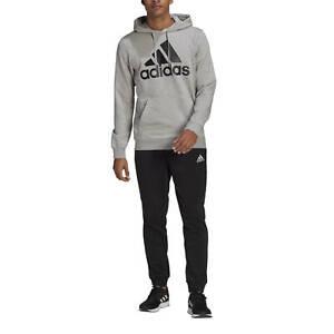 Adidas Tuta da Uomo Aeroready Essentials Kangaroo Pocket Big Logo Grigia Codi...