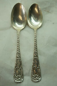 FRANK W SMITH STERLING SILVER FLATWARE EARL PATTERN 2 SPOONS TOWLE MONO F 5.75in