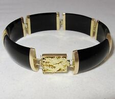 "Vintage Chinese 14K Yellow Gold Bracelet with Black Onyx  (21.9g, 7.5"")"