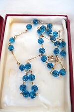Vintage Art Deco Style Blue Glass Wire Threaded Glass Beaded Necklace