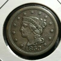 1853 BRAIDED HAIR LARGE CENT HIGH GRADE COIN