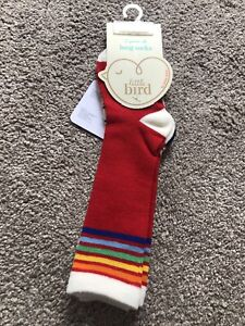 Little Bird By Jools Oliver Knee High Socks Red Rainbow Stripe Toddler 1-2 Years