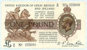 GREAT BRITAIN 1 Pound 1919 P357 XF-XF+ (ex XF45)