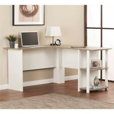 Home Office Desk Corner L Shape Computer White Side Storage Student Table