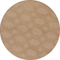 Geometric Oushak Trellis Looped Oriental Hand-Tufted Brown 8' Round Wool Rug