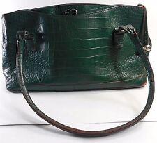 ESCADA Vintage 1980s Handbag Purse Croc Leather Hunter Green Silver Shoulder