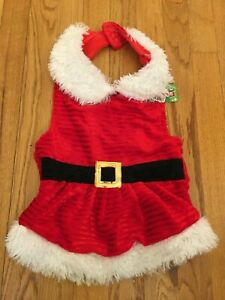 SANTA MRS CLAUS SUIT COSTUME DRESS LARGE Dogs- EASY OFF/ON- 100% to Pet Shelter