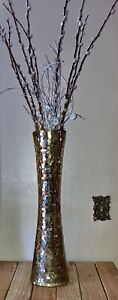 """tapestry Gold Glass Vase with Mirror Mosaic Design 23.5"""" With Pussy Willows"""