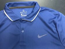 Nike Court Dry Polo 939137-438 Men's Medium Tennis Blue w/ White