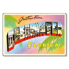 Clearwater Florida fl Travel Postcard Metal Sign Wall Decor Steel not tin 36x24